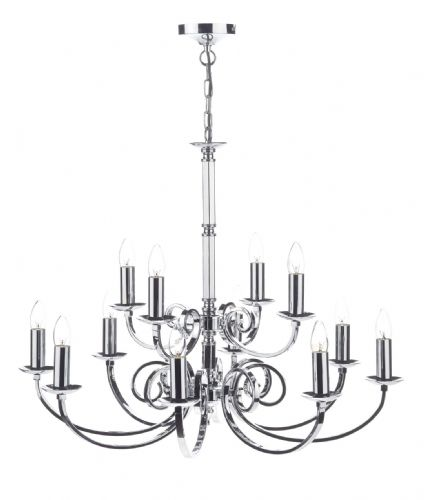 Dar Murray 12 Light Dual Mount Pendant Polished Chrome MUR1250